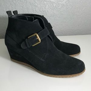 Franco Sarto black suede wedge booties 6.5